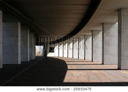 Monumental Colonnade in Sunny Day