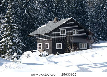 Snow-covered ski resort house in the firry forest in the Czech mountains