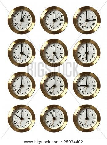 Set of 12 clocks showing different time isolated on white