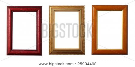 Three wooden frames isolated on white