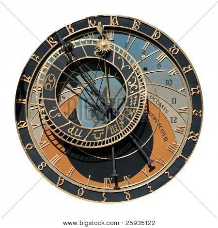 Famous astronomical clock in Prague, Czech Republic, isolated on white