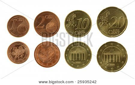 Eurocents collection isolated on white