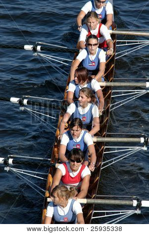PRAGUE - JUNE 6: Junior female rowing team 'Sprata' rowing ahead during a boat-race on June 6, 2009 in Prague, Czech Republic.