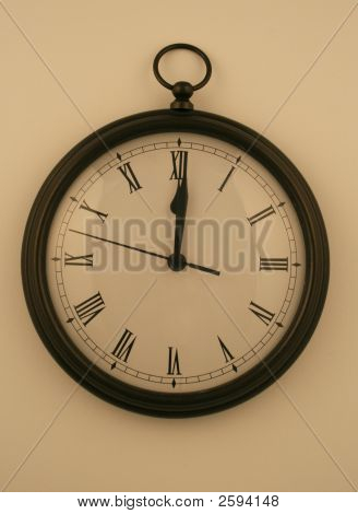 Midnight Clock On White Wall