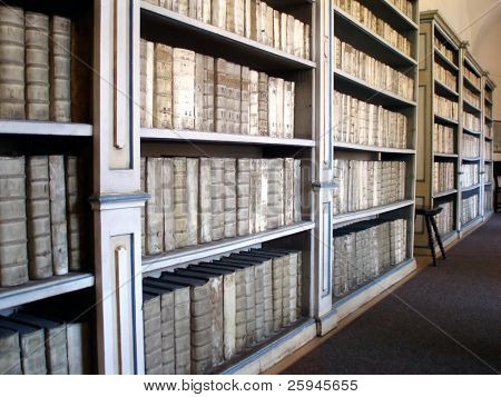 Library with ancient books