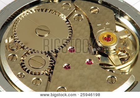 Mechanism of old clock - sprockets and ruby gems in the system are well visible