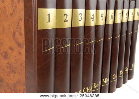 Encyclopedia set - 10 heavy book tomes isolated