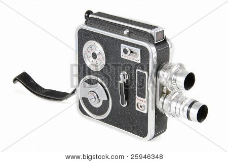 Very old double-lens 8mm video camera isolated