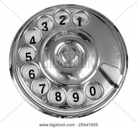 Luxurious silver vintage telephone dial isolated