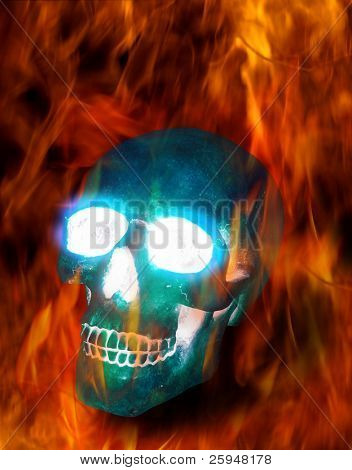Magic transparent ice skull burning in terrible flames