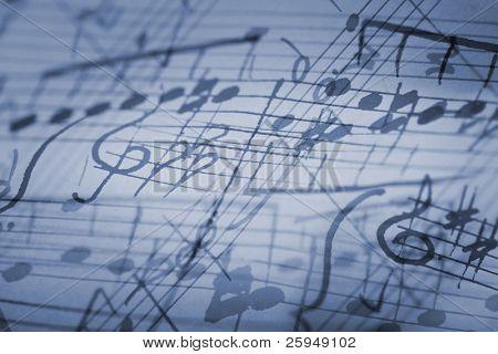 hand-written musical notation background.