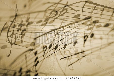 musical notation background.