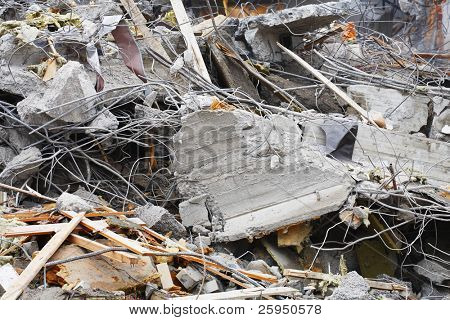 Demolition site rubble, concrete and steel