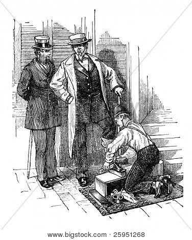 Gentlemen having their shoes polished in New York. Illustration originally published in Hesse-Wartegg's