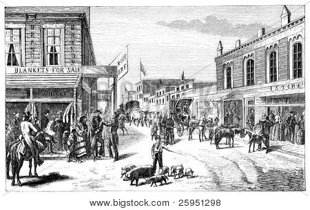 "A Street in Wichita, Kansas. Illustration originally published in Hesse-Wartegg's ""Nord Amerika"", swedish edition published in 1880."