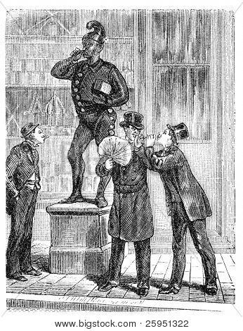 Men outside a cigar store in New York. Illustration originally published in Hesse-Wartegg's