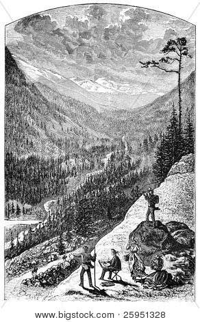 Gray's peak in the Colorado Rockies. Illustration originally published in Hesse-Wartegg's