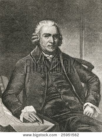 Samuel Adams (1722-1803), statesman and one of the founding fathers of United States. Engraved image from a 1876 Magazine.