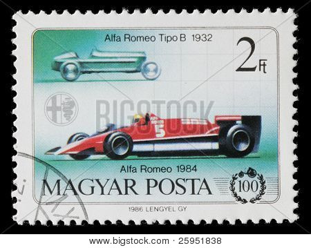 HUNGARY - CIRCA 1986: Hungarian commemorative stamp celebrating 100 years of the automobile. Alfa Romeo Tipo B and Alfa Romeo racing car. circa 1986