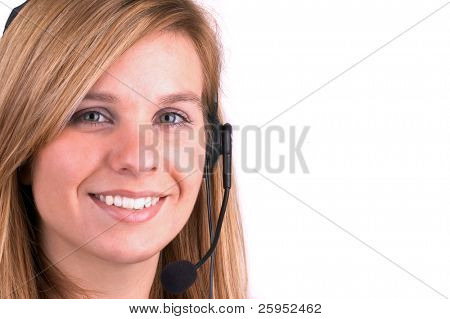 Attractive Blond Call Centre Operator