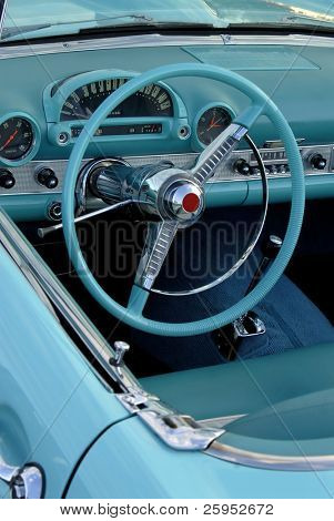 Interior Of A 1955 Classic American Automobile