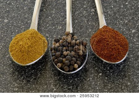 Three Spices, Curry, Peppercorns And Chili Powder, Measured Out On Teaspoons