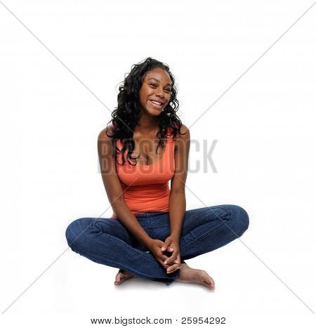 Beautiful Teenage Girl Smiling, Isolated Over White