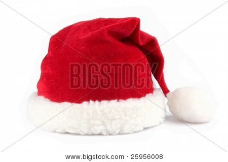 Red santa claus hats over white background