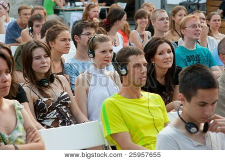 "MOSCOW - JULY 10: Audience at workshop ""The Future of Labor and the City"" in ""Strelka Institute"" on July 10, 2010 in Moscow, Russia"