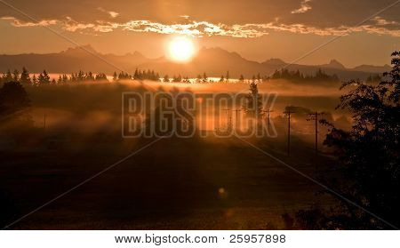Sunrise Landscape Over 3 Sisters Or 3 Finger Mountain Washington