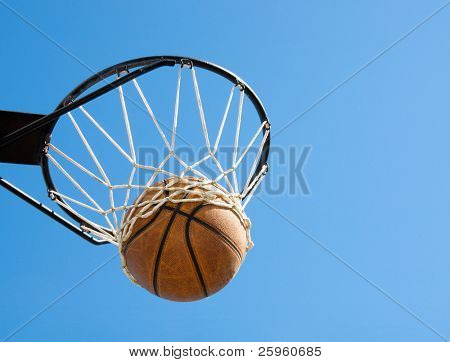 Basketball in the net - concept of success, reaching one's goals