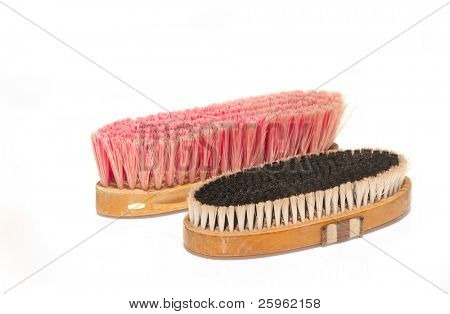 Two soft brushes for grooming horses