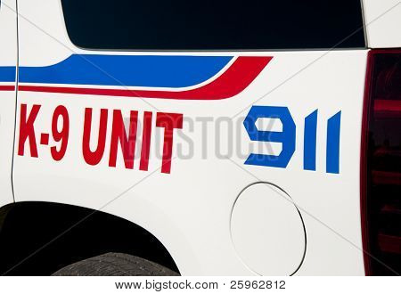 Decals on K9 unit vehicle of law enforcement