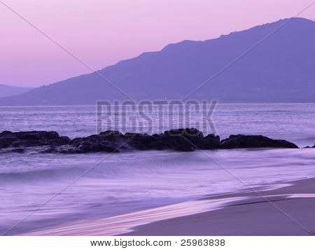 Beautiful sunset at Gibraltar Beach, Spain