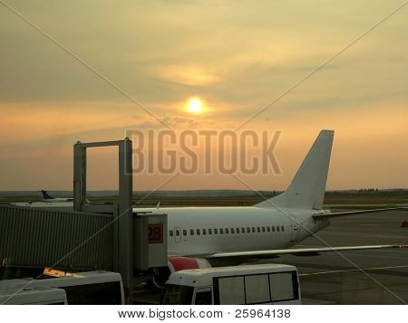 Airport of Helsinki at sunset, Finland