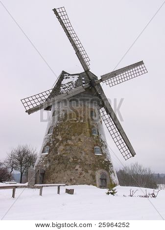 Old windmill in winter (Latvia)
