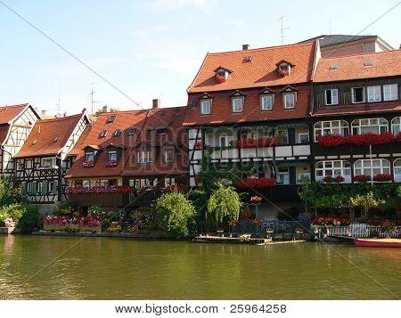Bamberg houses by River, Bavaria, Germany.