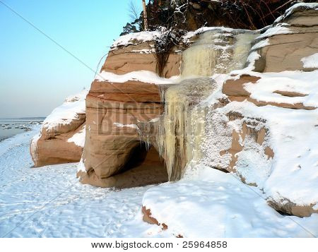 Winter waterfall at sea