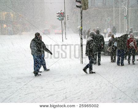 Snowstorm in Helsinki, Finland.