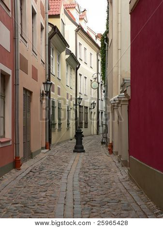 Riga - capital of Latvia. Old city, old street and old houses.