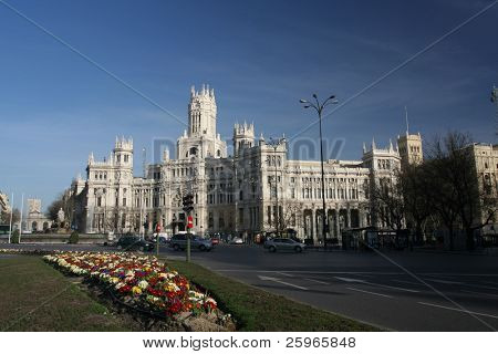 Plaza de Cibeles with flowers in Madrid, Spain