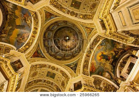 Saint Isaac's Cathedral in St Petersburg, Russia, Eastern Europe, iterior - fantastic plafond inside