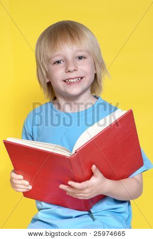Portrait of the nice schoolboy on a yellow background