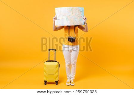 poster of Traveler Tourist Woman In Summer Casual Clothes, Hat With Suitcase, City Map Isolated On Yellow Oran