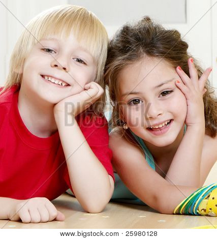 Portrait happy kids on light background