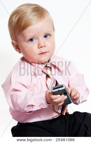 bright closeup portrait of adorable baby businessman
