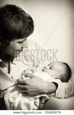Portrait of loving father and his baby