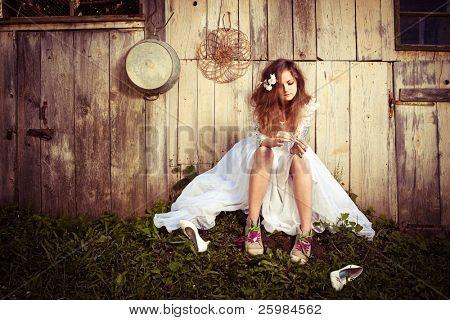 einsam Braut mit ihren Probleme des Lebens