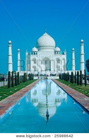 World wonder Taj Mahal in soft daily light with blue sky