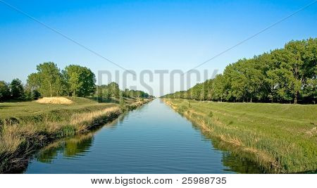 long wide water canal for watering, Vojvodina, Serbia